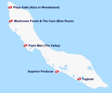Kaart duikplekken en snorkelplekken