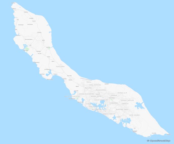 Kaart van Curacao door OpenStreetsMap